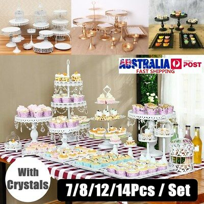 7/8/12/14 Pcs Set Crystal Cake Holder Cupcake Stand Birthday Wedding Party Decor