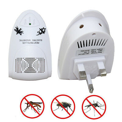 White Ultrasonic Plug In Pest Repeller Night Light Mouse Mice Rat Spider Insects