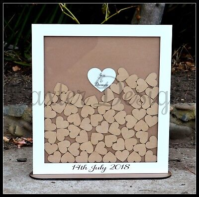 Wooden Wedding Heart Guest Book Drop Box Personalised Custom
