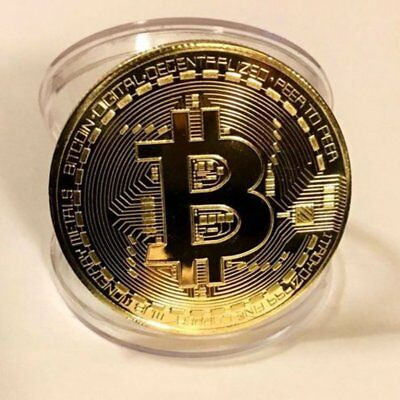 New Gold Bitcoin Commemorative Round Collectors Coin Collectibles with Free Case