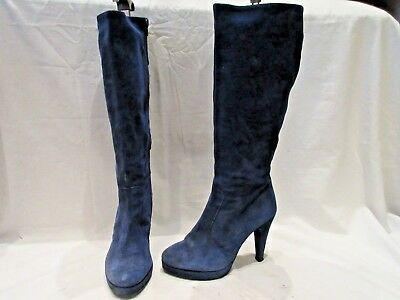 2ed55b9fdd6c KATE KUBA BLUE Suede High Calf High Heel Zip Up Boots Uk 7 Eu 40 (1503) -  EUR 40