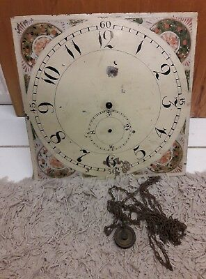 """Old Longcase/grandfather Movement With 13"""" Square Dial,no Reserve!!!"""
