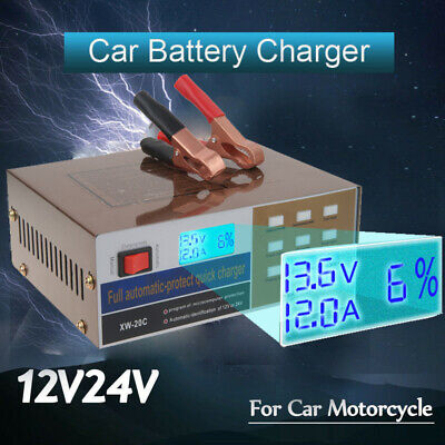 AU Auto Car Battery Charger Intelligent 150/250V 12/24V 100AH Pulse Repair NEW
