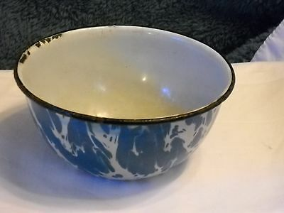 Graniteware Blue Swirl Small Serving Bowl Or Soup Bowl