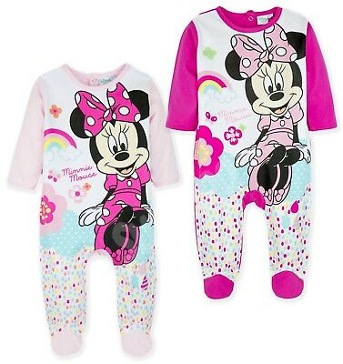 Disney Minnie Mouse Girls 100% Cotton Sleepsuit Babygrow Pyjamas New 2018