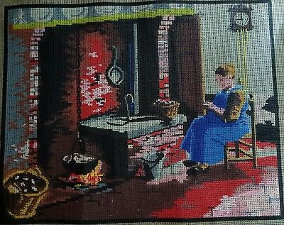 Unused Tapestry – Lady Sitting near a Stove. Size 32cm high x 40cm wide.