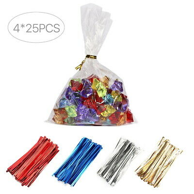 Metallic Twist Ties Wire for Cello Bags Cake Pops 4inch 10cm Pack of 100