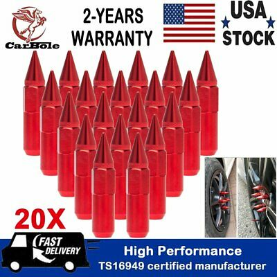 20PCS M12X1.5 Cap Spiked Extended Tuner 60mm Aluminum Wheels Rims Lug Nuts Red