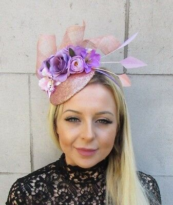 Lilac Purple Rose Gold Flower Pink Feather Hat Hair Fascinator Races Ascot 5794