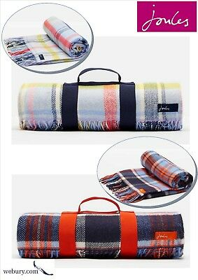 Joules Woven Soft Picnic Blanket Traditional French Navy or Multi Checked Fabric