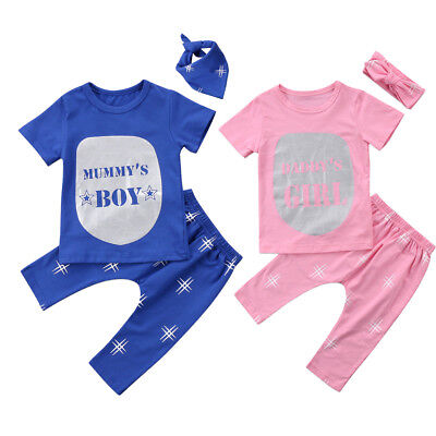 Girls Boys Twins Matching Newborn Baby T-shirt Top+Pants Outfit Clothes 3Pcs Set