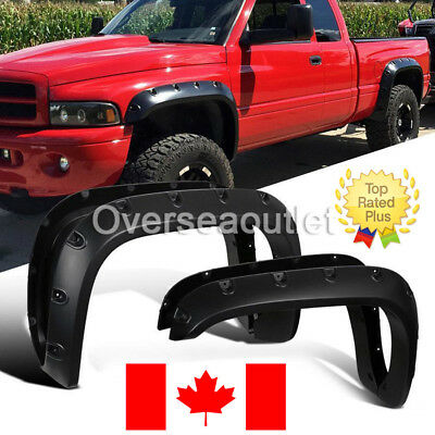 Dodge Ram 1500 2500 3500 94-01 4 PCS Textured Black Bolt-on Style Fender Flares