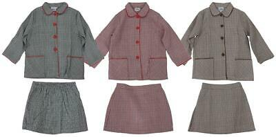 Girls Vintage Prince of Wales Check Jacket & Skirt Suit 18 Months to 8 Years