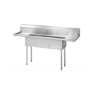 Turbo Air TSA-3-D1 S/S Three Compartment Sink with 2 Drainboards