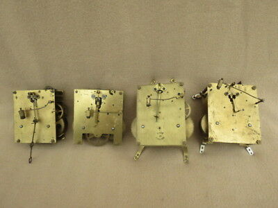 X 4 Vintage Striking Clock Movements For Spares Repair