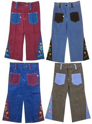 Girls Jeans Floral Flared Vintage Authentic 60's Mod Hippy 18 Months to 4 Years