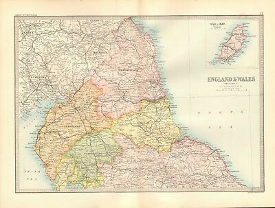 1890 Antique Map - England & Wales, Section 1, North, Isle Of Man