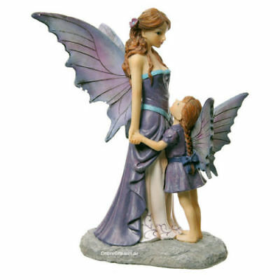 1 x Amethyst Guardian Angel Statue Mother & Daughter Fairy