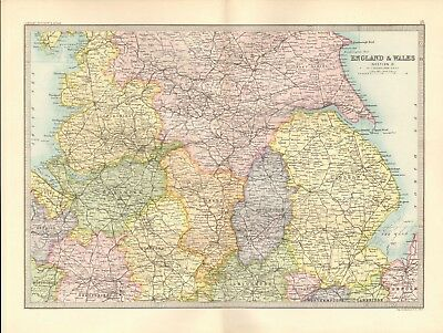 1890 Antique Map - England & Wales, Section 2,Central,Lancashire,Lincoln,Shropsh