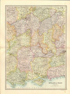 1890 Antique Map - England & Wales, Section 4, South Central,Dorset,Hampshire