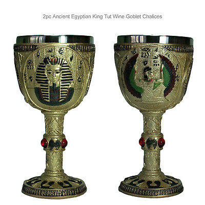2pc Ancient Egyptian King Tut Wine Goblet Chalice Beverage Cup