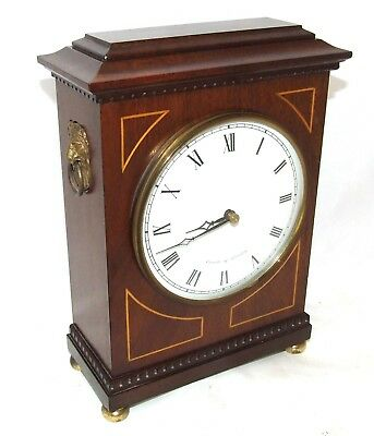 Antique Style COMITTI LONDON Inlaid Mahogany Bracket Mantel Clock LION HEADS