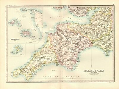 1890 Antique Map - England & Wales, Section 6, South West, Cornwall, Devon