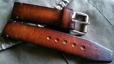 Aviator pilot military vintage style Horween leather watch strap 16, 18, 20, 22,
