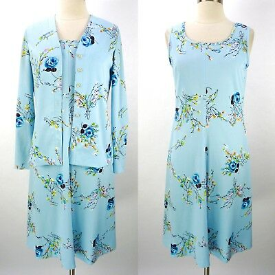 Vintage 70s Light Blue Summer Dress Set Size M Floral Print Matching Top Jacket