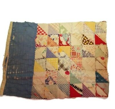 Vtg Feedsack Quilt Hand Stitched Tattered Torn Piece 18 x 13 Cutter fs4