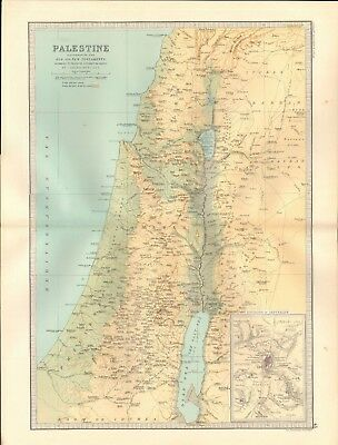 1890 Antique Map - Palestine Illustrating The Old And New Testaments, Jerusalem