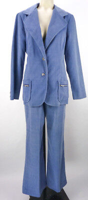 Vintage 70s Blue Denim Corduroy Leisure Suit Set S/M Bell Bottom Pants Jacket