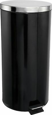 HOME Kitchen Pedal Bin 30 Litre Stainless Steel - Black.