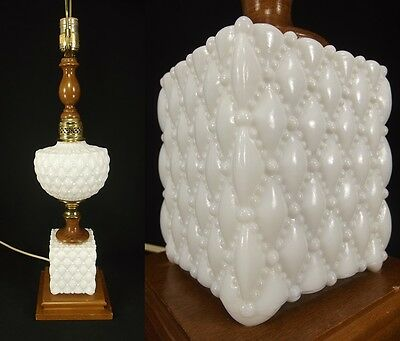 Vintage Milk Glass Table Lamp antique wood mid century QUILT brass SAVAGE old