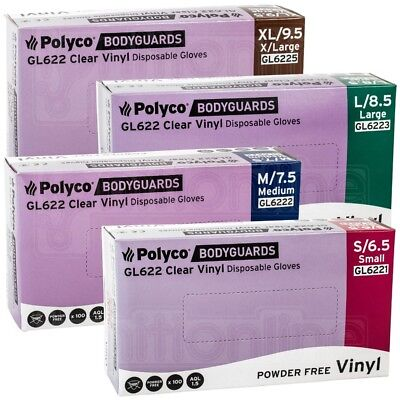 Bodyguards Clear Vinyl Powder Free Disposable Gloves Medical Cleaning Box of 100