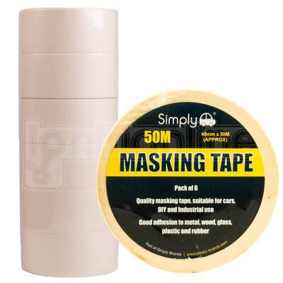 Simply Masking Tape DIY Painters Decorators Arts Crafts 48mm x 50M Pack of 6