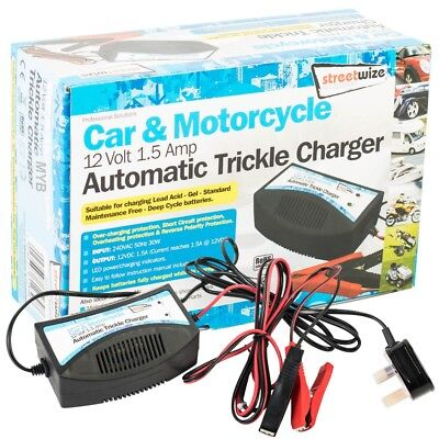 12 Volts Automatic Trickle Charger Car Motorcycle 1.5amp Caravan Van Lead Acid