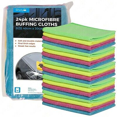 24 Pack Microfibre Car Cleaning Soft Cloths Buffing Wax Wash Polish Towel Duster
