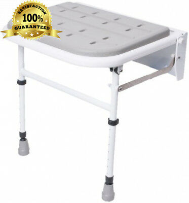 NRS Healthcare Wall Mounted Folding Shower Seat M53552 – Padded with Legs...