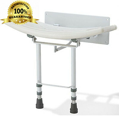 Folding Wall Mounted Shower Seat with Adjustable Legs and shower head holder