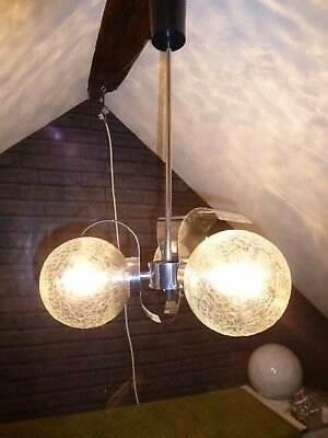 FRENCH RETRO MID CENTURY 3 LIGHT CHROME AND GLASS CHANDELIER circa 1970s