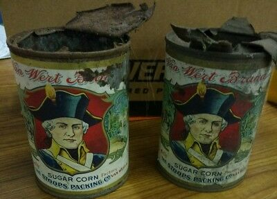 Erly 1900s CORN CANS, STOOPS CANNERY, Van Wert OH Revolutionary War Major Andre