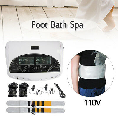 LCD Dual Ion Ionic Cell Aqua Foot Bath SPA Detox Cleanse Machine + Infrared Belt