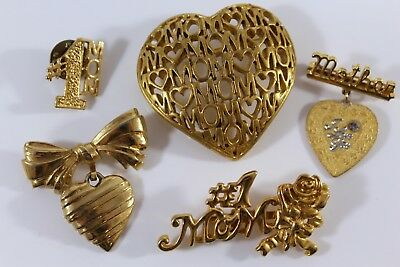 Vintage Brooches Pin Lot of 5 Mother themed I LOVE YOU 1 signed AVON MOM