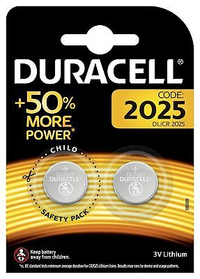 2 x Duracell CR2025 batteries Lithium Coin Cell DL2025 3V Pack of 2**AUTHENTIC**