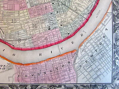Cincinnati Ohio city plan 1860 Mitchell fine old map hand color detailed