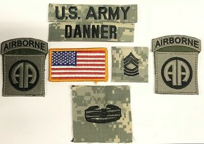 9 US ARMY patch Set ACU UCP 82nd Airborne CAB Konvolut MSGT DANNER