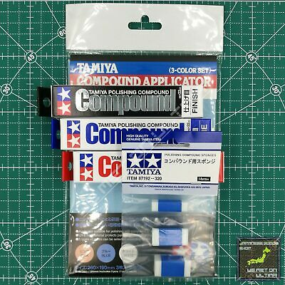 Tamiya Polishing Compound Coarse/Fine/Finish/Applicator/Sponges F/S FROM JAPAN