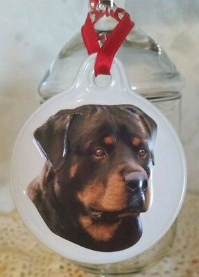 Rottweiler Christmas Ornament New with Tags So Beautiful Sculpted Ceramic