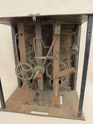 Antique French Comtoise Weight Driven Clock Movement For Tlc